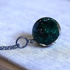 Resin Necklace with Emerald Green Mineral Oxidize Silver