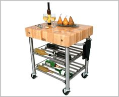 Short Mobile Kitchen Island Bronze Mobile Kitchen Island With Pine Wood Countertop