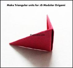 Many of our visitor friends ask how to make the triangular units for building Modular Origami models. This simple tutorial is to explain that. How to Make Triangular units for Origami: Step Origami And Kirigami, Origami Paper, Diy Paper, Paper Crafts, Origami Cranes, Paper Art, Diy Crafts, Origami Models, Kids Art Class