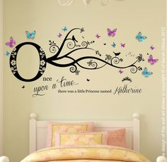 Personalised Name Once Upon a Time Princess Wall Art by Purrfic