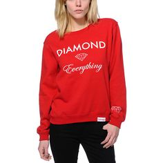 Add some shine to your look in the Diamond Supply Co. Diamond Everything Red crew neck sweatshirt for girls.