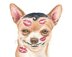 Chihuahua Watercolor Illustration PRINT 5x7 by WaterInMyPaint