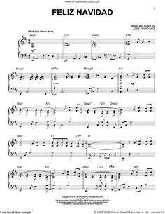 Feliciano - Feliz Navidad sheet music for piano solo [PDF] Christmas Carol, Christmas Ideas, Christmas Sheet Music, Piano Sheet Music, Keyboard, Favorite Things, Lyrics, Bright, Sheet Music