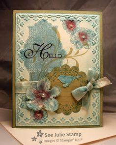 Everything Eleanor w/ Lacy & Lovely- very vanilla, river rock, baja breeze & bravo burgundy w/ framed tulip folder
