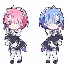 """This chibi is based off the anime """"Re:Zero."""" This anime chibi gif is of Ram and Rem. Chibi, Kawaii, Animation, Anime Characters, Anime Drawings, Anime Style, Ram And Rem, Manga, Anime Chibi"""