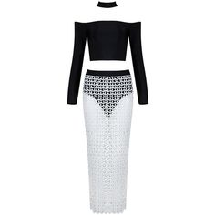Honey couture tessa black collar crop top & white crochet skirt set (270 AUD) ❤ liked on Polyvore featuring tops, collared crop top, white crochet top, white lace top, white top and white crop top