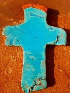Rustic Turquoise Clay Cross by carriewdesign on Etsy