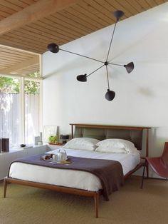 simple lines mid century modern bedroom interior spectacular chandelier wood bed frame