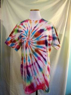 Handmade Tie Dyed T-Shirt Colorful Swirl Pink Blue White Multi-Color #Handmade #Gildan