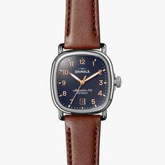 Shinola - Men's Watch - The Guardian 36mm Blue Dial with Cognac Leather Strap    Shinola® Detroit
