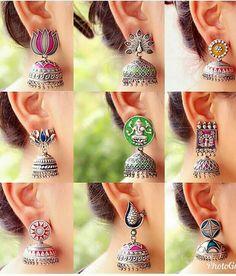 Silver Jhumkas, Silver Jewellery Indian, Indian Wedding Jewelry, Silver Jewelry, Antique Jewellery Designs, Gold Earrings Designs, Antique Jewelry, Jewelry Design, Unusual Jewelry