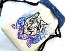 Paisley Wolf Bag Dice Bag Tarot Bag by MoonGardenStitches on Etsy Dice Bag, Medieval Fashion, Paisley Pattern, Tarot Cards, Card Games, Bag Accessories, Weapons, Wolf, Gaming