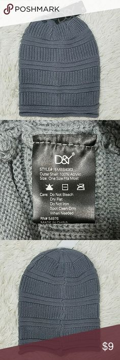 NWT! D&Y David & Young Slouchy Beanie Rolled Edge Gray D&Y Slouchy Beanie Hat, rolled edge, brand new!, vertical and horizontal ribbing D&Y Accessories Hats