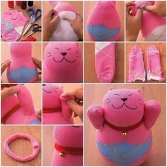 How to make a Lucky Cat sock doll [and others] with DIY tutorial instructions {in Italian} Sock Crafts, Sewing Crafts, Sewing Projects, Diy Projects, Project Ideas, Diy Cat Toys, Diy Jouet Pour Chat, How To Make Socks, Make Tutorial