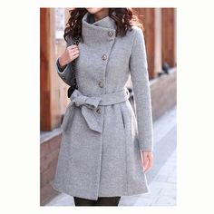 Fashion Slim Bowknot Sash Worsted Trench Coat for women,it made of Fleece which make you warm in cold days, and also it's fashion with Slim Bowknot Sash, enhances you a sexy attractive frame. Material