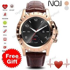 No.1 Sun S2 Circular Dial Smart Watch Brown Genuine Leather Band Heart Rate Monitor Tracker for IOS/Android WWT-402578