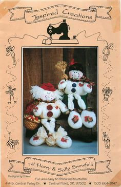 """Inspired Creations Sewing Pattern for """"Harry and Sally Snowfolk"""", a Design by Dawn by CarlasHope on Etsy"""