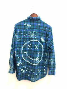 Bleached Nirvana Shirt in Blue Plaid Vintage Flannel. Bleach dyed by hand. One of a kind. Unisex. Bambiandfalana.com