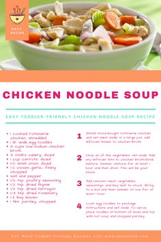 Chicken Noodle Soup Recipe | Toddler Friendly Meals | How to Care for a Sick Toddler | Easy Recipes | Kids | Family | Parenting | For more, visit www.amamatale.com