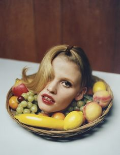 Lara Stone's head gets served on a platter in i-D
