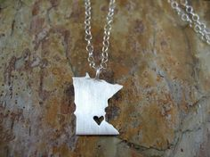 Any State Love Necklace by DreamingTreeCreation on Etsy, $65.00 - WISCONSIN (not Minnesota of course)