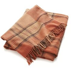 Crate & Barrel Rust Plaid Throw (53 CAD) ❤ liked on Polyvore featuring home, bed & bath, bedding, blankets, scarves, accessories, throw, fringe blanket, football bedding and plaid stadium blanket