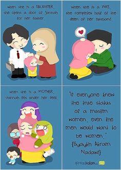 The status of women in islam Islamic Qoutes, Islamic Teachings, Muslim Quotes, Religious Quotes, Islamic Dua, Islam Muslim, Islam Quran, Islam Religion, Allah Islam