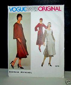 VOGUE SONIA RYKIEL Paris Original Dress Pattern 1379 Tunic Vintage Sewing Sz 14