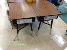 use magnets to keep name tags on sides of desks--easy to remove to use, move seats, and saves name tags and kids from picking at the tape ON the desks! Classroom Desk, Classroom Hacks, Future Classroom, School Classroom, My School Life, School Daze, Classroom Organization, Classroom Management, Desk Name Tags