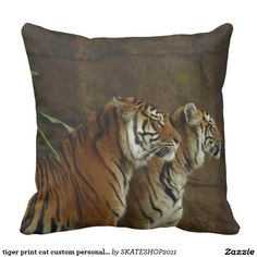 tiger print cat custom personalize Anniversaries Pillow