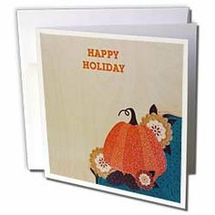 """Florene Holiday - Thanksgiving Pumpkin - Greeting Cards-12 Greeting Cards with envelopes by 3dRose. $15.95. Thanksgiving Pumpkin Greeting Card is a great way to say """"thank you"""" or to acknowledge any occasion. These blank cards are made of heavy duty card stock with a gloss exterior and a matte interior for smudge free writing. Cards are creased for easy folding and come with white envelopes. Available in sets of 6 and 12."""