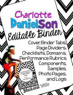 Charlotte Danielson Annual Professional Performance Evaluation: Black and White Editable Binder Pages* Print them all. Print some. Print what you need. School Counselor, School Teacher, Student Teaching, Teaching Ideas, Binder Organization, Classroom Organization, Classroom Management, Danielson Framework, Danielson Rubric