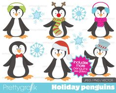 penguin holiday clipart for digital scrapbooking & design - PGCLPK401. $4.95, via Etsy.