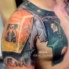 Boba Fett, Star Wars, color, tattoo, tattoos, inked, armor, chest, sleeve, black rose,