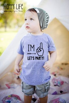 First Birthday Shirt, First Birthday, I'm One Let's Party Birthday Shirt, Boys…