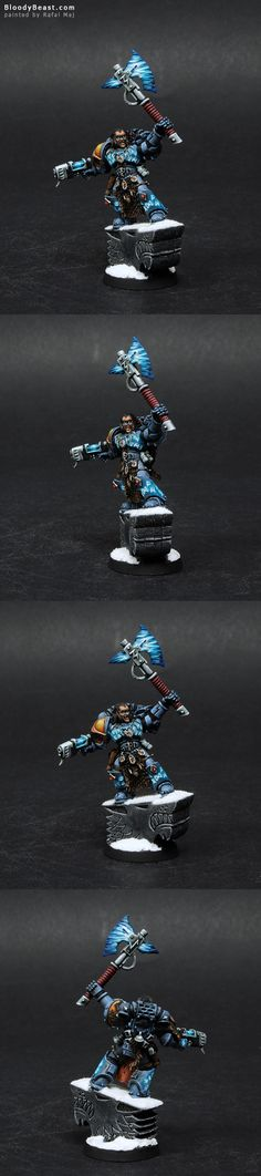 I really like this sculpt. This is finecast Space Wolves Standard Bearer. But I needed his standard so I made him a Rune Priest instead. It really suits Rune Priest because of all those runes on ar...