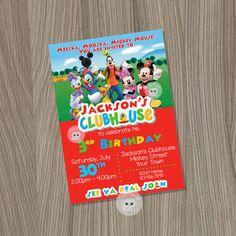 Mickey Mouse Clubhouse invitación, invitación de cumpleaños de Mickey Mouse, Mickey Mouse Clubhouse fiesta, Mickey Mouse, Mickey Clubhouse invitación