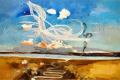 Battle of Britain, Paul K Nash. Just seen this on British Art at War on English Artists, British Artists, Battle Of Britain, Your Paintings, Landscape Paintings, Landscapes, Landscape Drawings, Art Uk, Land Art