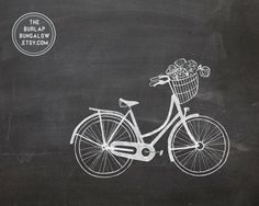 Chalkboard Art Flowers | Spring Chalkboard Art Printable -- Vintage Bike with Flower Basket ...