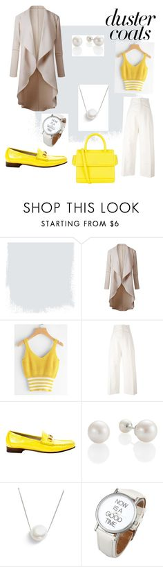 """""""Duster Coat #pearls"""" by marjansty ❤ liked on Polyvore featuring Jacquemus, Gucci, Chan Luu and Givenchy"""