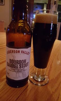 Anderson Valley Wild Turkey Bourbon Barrel (American) Stout is 6.9 ABV and pours virtually black.  The nose and palate are roasted chocolate and coffee stout notes, vanilla, oak and sweet booze from the barrel aging.  Mouthfeel is a bit thicker than moderate but quite drinkable given the relatively low ABV.  This is a solid barrel age beer in its own right even if it has to contend with some very heavy hitters.  Good find in a restaurant not known for beer, served with the bottle and pils…