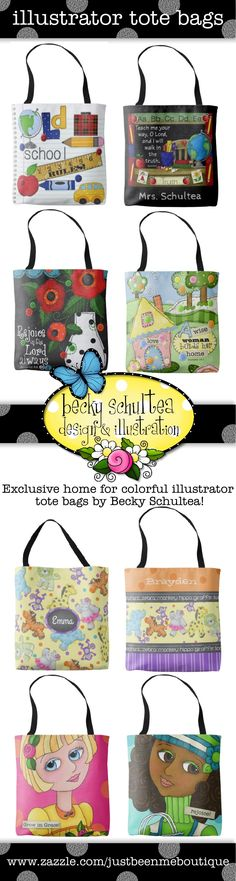 exclusive home for tote bags by illustrator Becky Schultea.