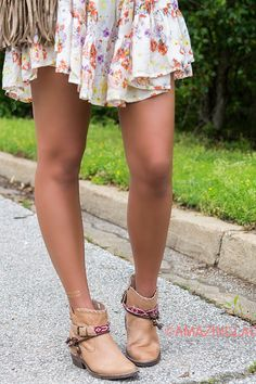 Bonnaroo Babe Tan Pointed Toe Tribal Print Detail Ankle Boots