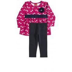 Conjunto Infantil Menina em Molicotton Kyly. Moda bebê, Moda Infantil, Roupas de Bebê, roupas Infantis, Fashion Baby, Fashion Kids. www.boobebe.com.br