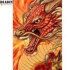 New Arrived Needlework DIY Diamond Painting Cross Stitch dragon Diamond Embroidery Romantic pattern home decoration craft Dragon Face, Dragon Head, Red Dragon, Red Chinese Dragon, Chinese Dragon Tattoos, Chinese Dragon Drawing, Magical Creatures, Fantasy Creatures, Fantasy Dragon