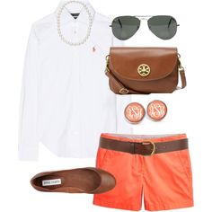 """""""Orange Shorts"""" by classically-preppy ❤ minus the brown bag Preppy Outfits, Preppy Style, Style Me, Cute Outfits, Preppy Wardrobe, Orange Outfits, Sandro, Spring Summer Fashion, Spring Outfits"""