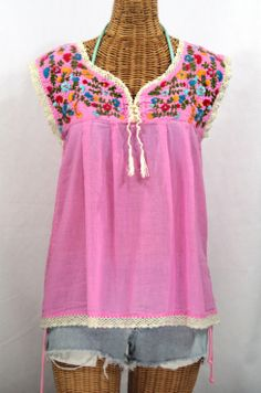 "Now available in bubblegum pink:  Siren's ""La Marbrisa"" Sleeveless Mexican Blouse!"
