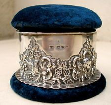 LARGE Sterling Silver Ring Box & Pin Cushion Hallmarked Chester 1897 SEE PHOTOS