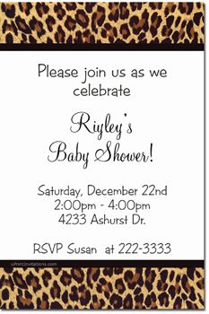 Animal Print Baby Shower Invitations DIY - CHOOSE YOUR COLOR SCHEME - CHOOSE YOUR ANIMAL PRINT - Get these invitations RIGHT NOW. Design yourself online, download and print IMMEDIATELY! Or choose my printing services. No software download is required. Free to try!