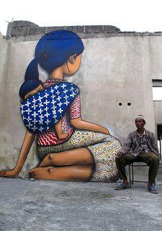 Merapi, Indonesia, 2012 - Street Art by Seth Globepainter  <3 <3